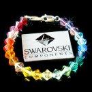 Swarovski Crystal Rainbow Chakra Medical ID Alert .925 Silver Bracelet