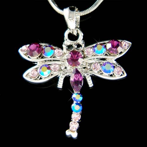 Swarovski Crystal Purple Dragonfly Charm Pendant Bridesmaid Necklace