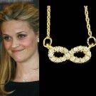 Dainty Swarovski Crystal Gold Infinity Forever Love Pendant Necklace