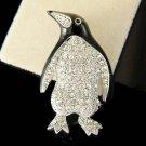 Swarovski Crystal Black Enamel Antarctica Penguin Baby Bird Pin Brooch