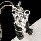 Swarovski Crystal 3D Cute Black and White Panda Bear Charm Necklace