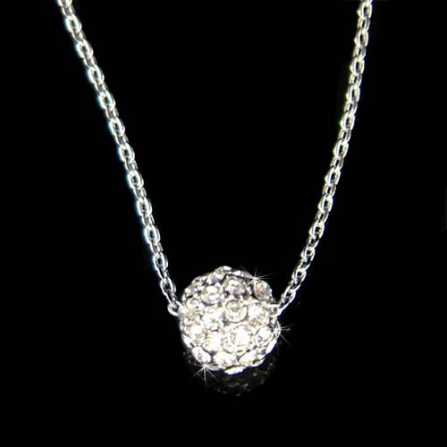 Swarovski Crystal Dainty Everyday Rhinestone Ball Sphere Necklace