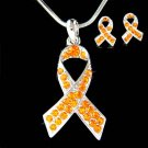 Swarovski Crystal Leukemia Kidney Cancer Ribbon Necklace Earrings Set