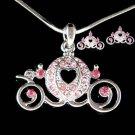 Swarovski Crystal Pink Pumpkin Cinderella Carriage Necklace Earrings