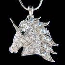 Swarovski Crystal Fairy Tale Unicorn Pegasus Horse Wing Charm Necklace