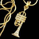Swarovski Crystal Gold Tone Trumpet Musical Instrument Band Necklace
