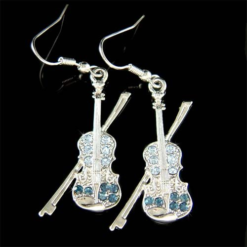 Swarovski Crystal Navy Blue Violin Viola Cello Fiddle Music Earrings