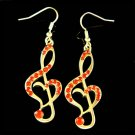 Swarovski Crystal Red Heart Treble Clef Music Note Gold Tone Earrings