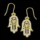 Swarovski Crystal Jewish Hamsa Hand Evil Eye Hamesh Gold Tone Earrings