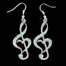 Swarovski Crystal Blue Heart Treble Clef Music Note Charm Earrings