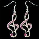Swarovski Crystal Purple Heart Treble Clef Music Note Charm Earrings