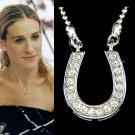 Swarovski Crystal Western Horseshoe Celebrity Charm Necklace New