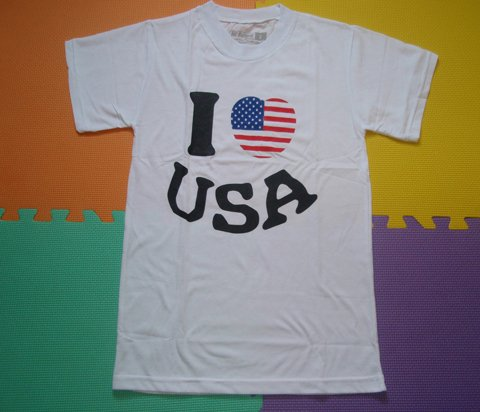 T SHIRT-I LOVE USA-WHITE size-S M L XL