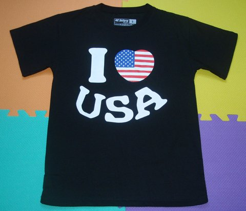 T SHIRT-I LOVE USA-BLACK size-S M L XL