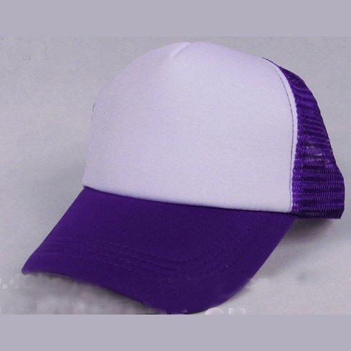 NEW CASUAL TRUCKER HAT CAP (PURPLE & WHITE)