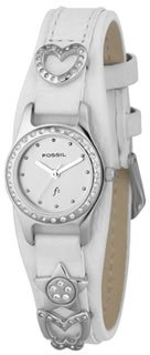 Fossil White Leather With Silver Dial Es9952
