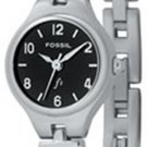 Fossil F2 Black Dial Ladies Silver Watch Es9745