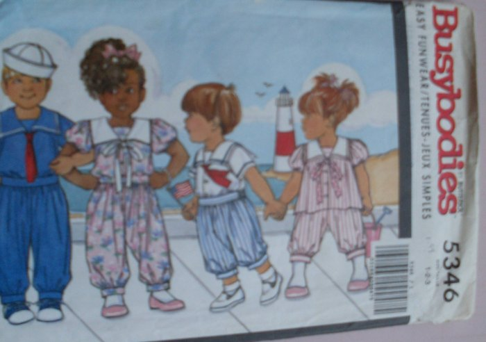 Vintage Butterick Busybodies Toddlers Sailor Sets # 5346