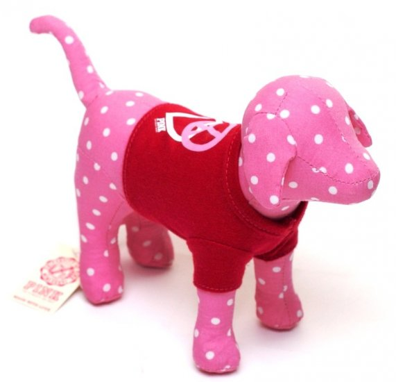 VICTORIA'S SECRET PINK MINI DOG WITH RED T-SHIRT & POLKA DOTS NEW WITH TAG