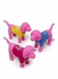 3 VICTORIA'S SECRET PINK MINI DOG WITH RED, BLUE, YELLOW  T-SHIRT & POLKA DOTS NEW WITH TAG