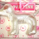 VICTORIA SECRET PINK MINI DOG SILVER METALLIC ORNAMENT