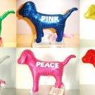 SET 6 VICTORIA SECRET PINK METALLIC MINI DOG COLLECTION