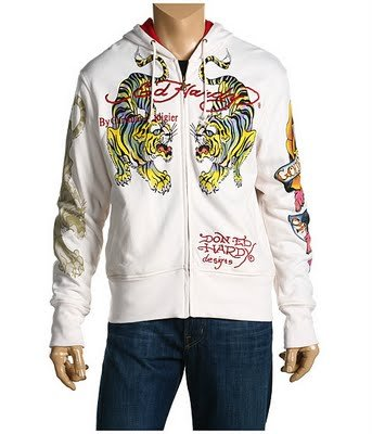 ED HARDY MEN TIGER EAGLE HOODIE OFF-WHITE JACKET SIZE L