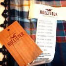 HOLLISTER WOMEN BLUE PLAID COTTON SCARF FASHIONABLE NWT