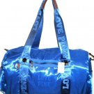 VICTORIA SECRET PINK LINE GYM DUFFLE BAG BLUE SATIN NEW