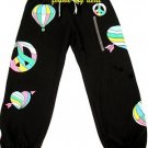 VICTORIA SECRET PINK BLING HEART PEACE SWEATS PANTS M