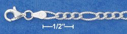 """STERLING SILVER 20""""  DC 4MM FIGAROA CHAIN ( dcfig100 )"""