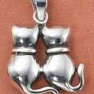 Sterling Silver 2 cats sitting charm ( CH-2385 )