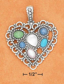 STERLING SILVER JEWELRY 35MM LACY MULTI STONE HEART ( ch3367 )
