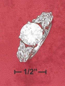 Sterling Silver 9mm round CZ ring ( sr2370 )