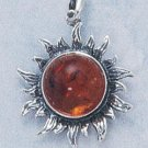 STERLING SILVER JEWELRY ANTIQUED AMBER SUN PENDANT (cx198 )
