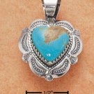 STERLING SILVER JEWELRY FANCY TURQUOISE PENDANT ( ch14 )