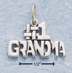 "STERLING SILVER JEWELRY ""#1 GRANDMA"" CHARM (ch744)"