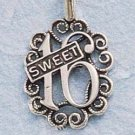 STERLING SILVER JEWELRY ANTIQUED 'SWEET 16' CHARM (ch651)