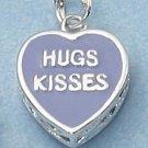 """STERLING SILVER JEWELRY 2 SIDED PURPLE ENAMEL """"HUGS KISSES"""" HEART (ch2254)"""