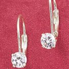 4MM ROUND CUBIC ZIRCONIA LEVERBACK EARRINGS (ea1954)