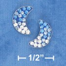 BLUE TO WHITE CRYSTAL MOON POST EARRINGS (ep644)