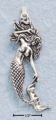 STERLING SILVER JEWELRY ANTIQUED MERMAID CHARM (ch181)