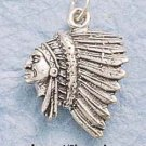 STERLING SILVER JEWELRY SIDE VIEW INDIAN HEAD CHARM (ch90)