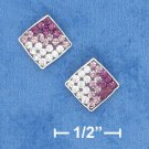 STERLING SILVER 8MM SQUARE MULTI STONE PURPLE TO WHITE CRYSTAL POST EARRINGS  (ep655)