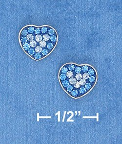 STERLING SILVER 8MM DARK BLUE & LIGHT BLUE CRYSTAL HEART POST EARRINGS  (ep651)