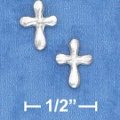 STERLING SILVER MINI ROUNDED CROSS POST EARRINGS  (ep643)