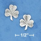 STERLING SILVER 10MM WIDE LINED SHAMROCK POST EARRINGS  (ep642)