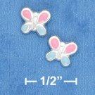 STERLING SILVER ITALIAN PINK & BLUE ENAMEL BUTTERFLY POST EARRINGS  (ep637)