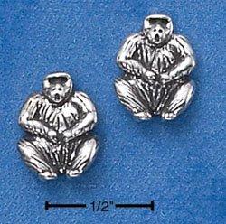 STERLING SILVER GORILLA MINI-POST EARRINGS  (ep566)