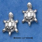 STERLING SILVER ROUND TURTLE POST EARRINGS  (ep556)